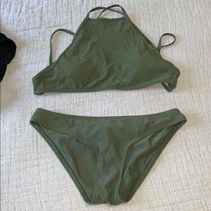 Olive Green Aerie High Neck Bikini